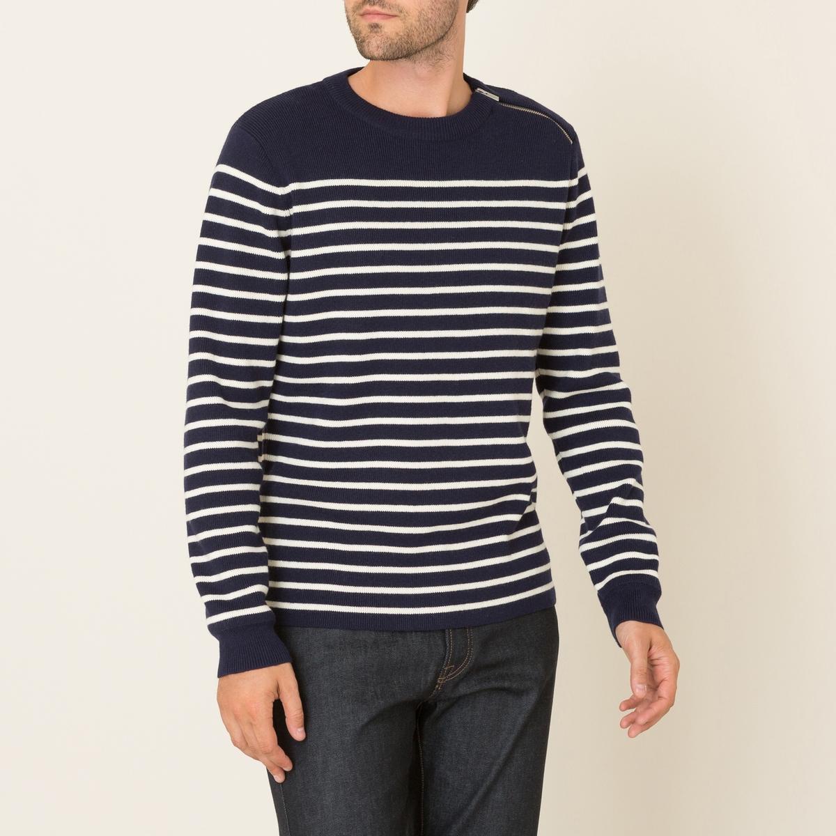 Пуловер в полоскуСостав и описание Материал : 70% шерсти, 30% хлопкаРубчик 69% шерсти, 30% хлопка, 1% эластанаМарка : THE KOOPLES SPORT<br><br>Цвет: темно-синий