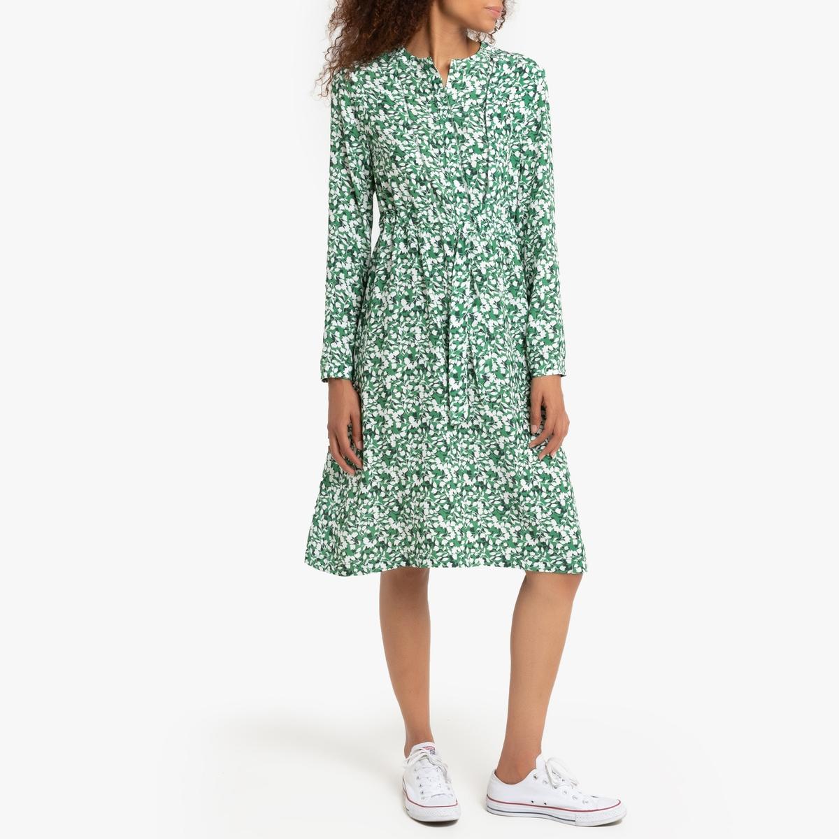 Платье La Redoute С длинными рукавами круглым вырезом и цветочным рисунком 0(XS) зеленый new remote control rc 2930 for pioneer blu ray bd disc player bdp 05fd bdp 23fd bdp 62fd bdp 80fd rc 2427 bdp 150 k