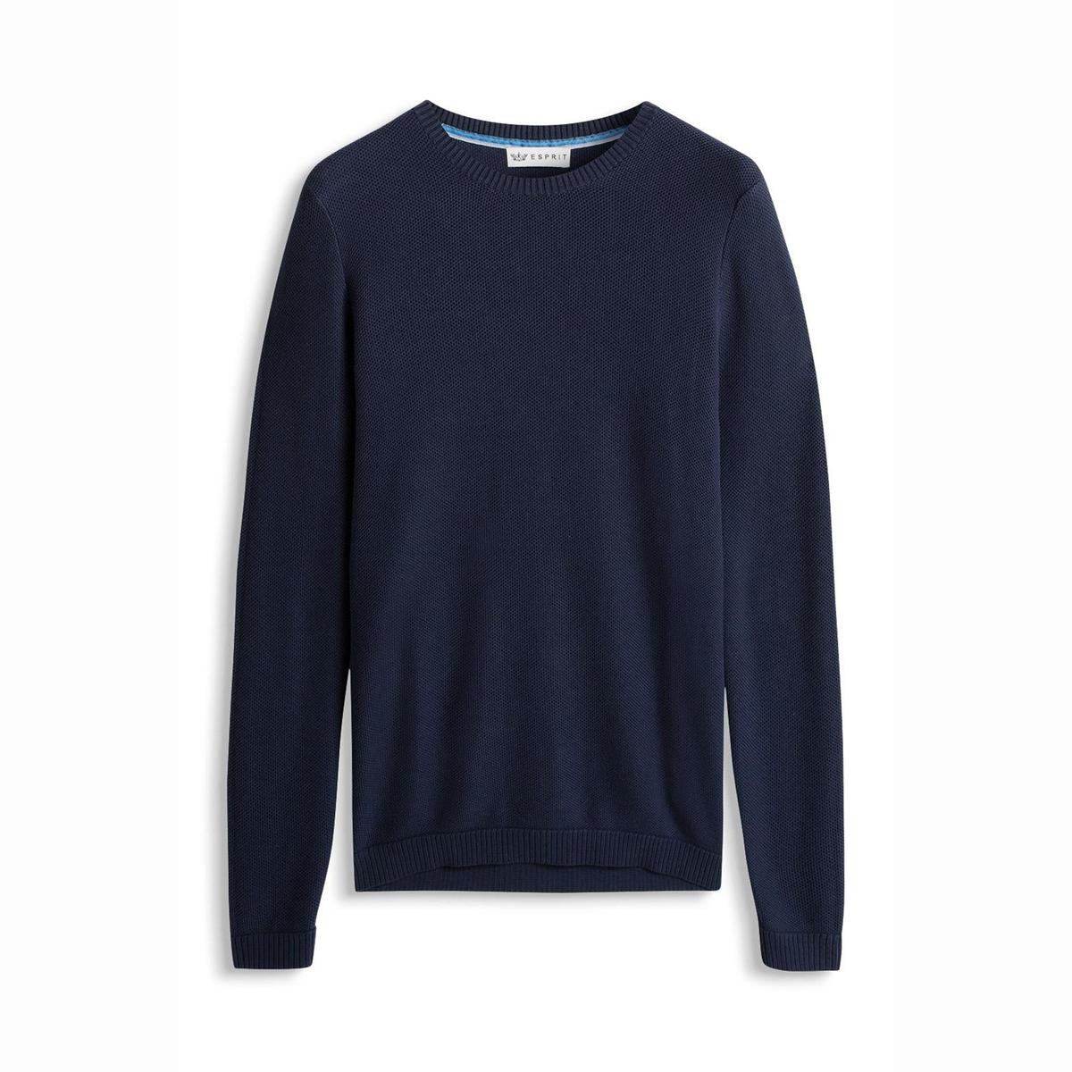 Пуловер из тонкого трикотажаПуловер из тонкого трикотажа - ESPRIT. Прямой покрой, круглый вырез. Отделка низа и манжет трикотажной резинкой.  Состав и описаниеМатериал: 100% хлопка.Марка: ESPRIT.<br><br>Цвет: темно-синий<br>Размер: XXL