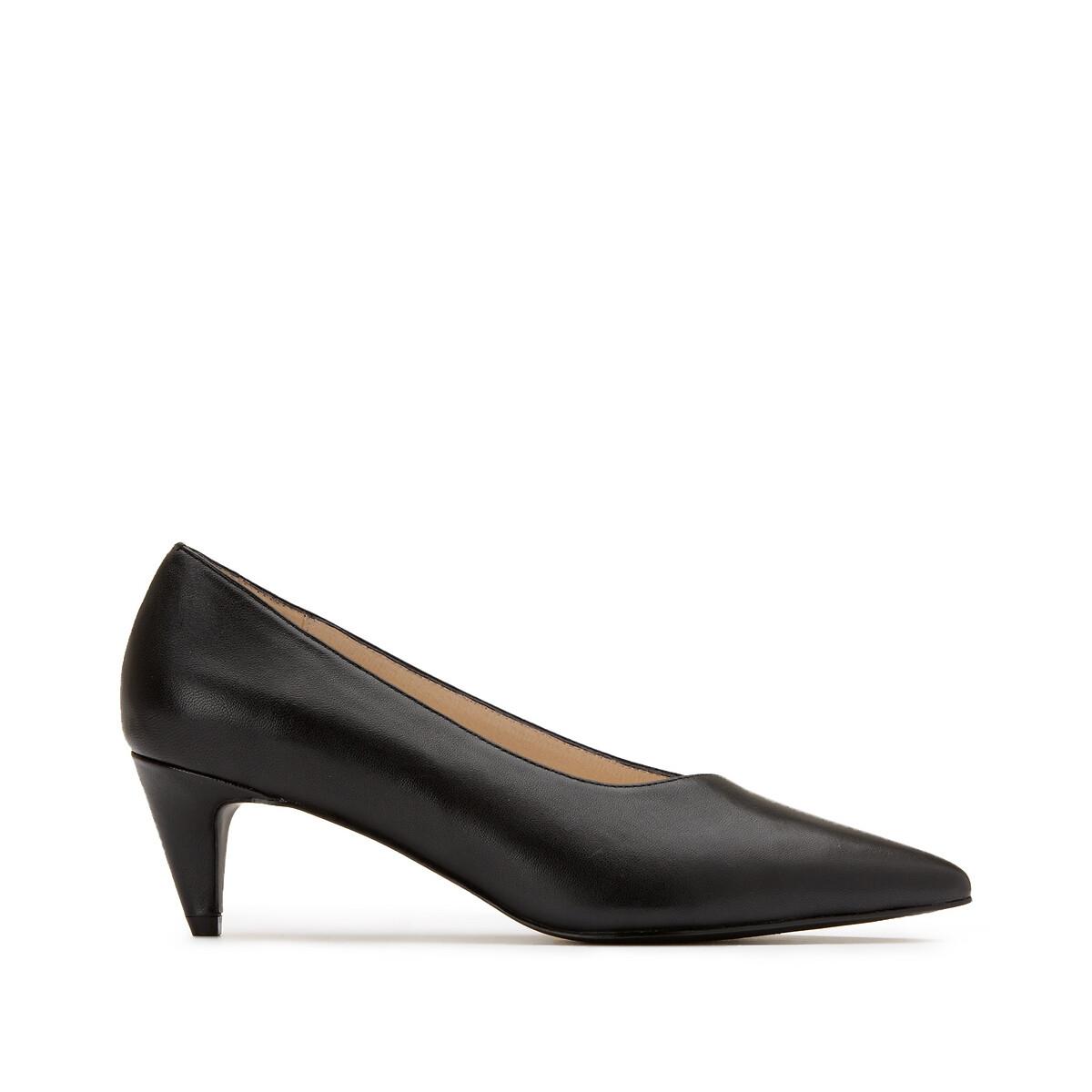 Туфли LaRedoute Из кожи на среднем заостренном каблуке 41 черный
