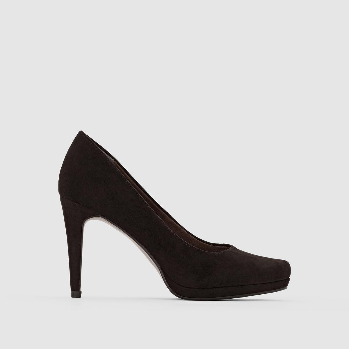 Туфли на высоком каблукеТуфли на высоком каблуке - TAMARIS . Верх : синтетика Подкладка : Текстиль Стелька  : синтетика Подошва : из эластомера. Каблук  : высота 9,5 см  Высота модели:  6,5 см  Ультра женственные, стильные и элегантные туфли на высоком каблуке и платформе... Визуально вытягивают силуэт  !<br><br>Цвет: черный<br>Размер: 39