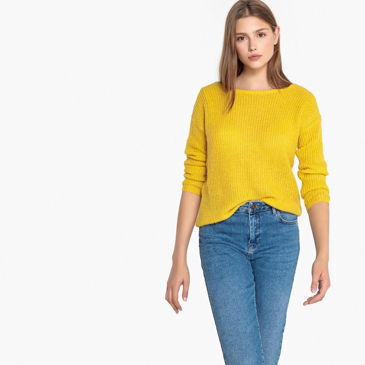 Пуловер с V-образным вырезом сзади и длинными рукавами пуловер из плотного трикотажа с v образным вырезом