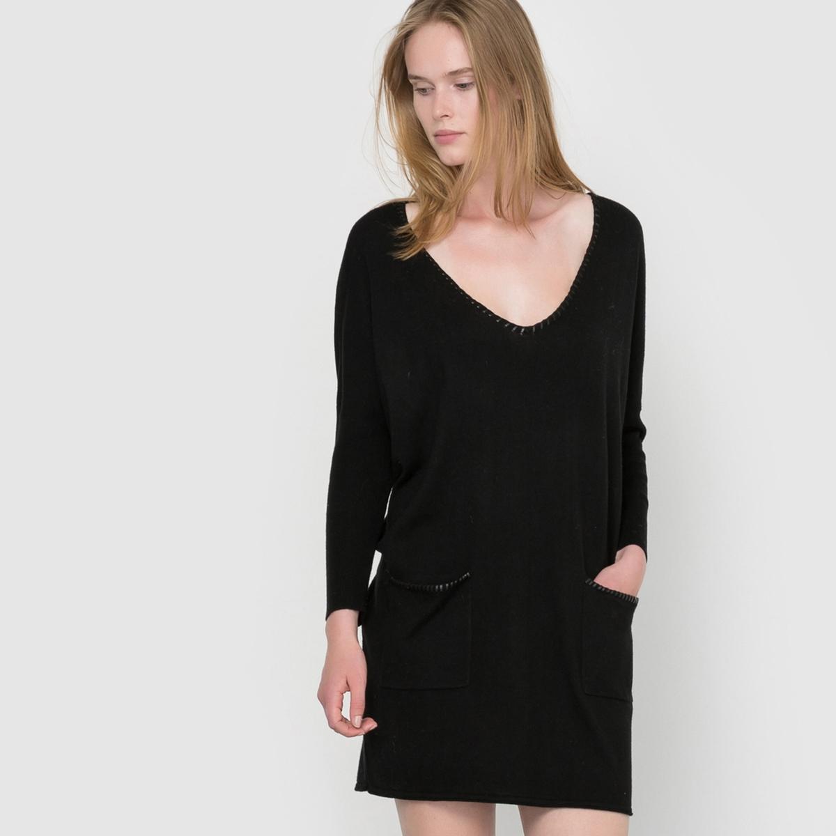 Платье из трикотажа PantxoaСостав и описаниеМатериал : 35% полиамида, 30% вискозы, 20% акрила, 10% шерсти, 5% кашемираМарка : SuncooМодель : PantxoaУходСм. рекомендации по уходу, указанные на этикетке изделия<br><br>Цвет: черный<br>Размер: XS