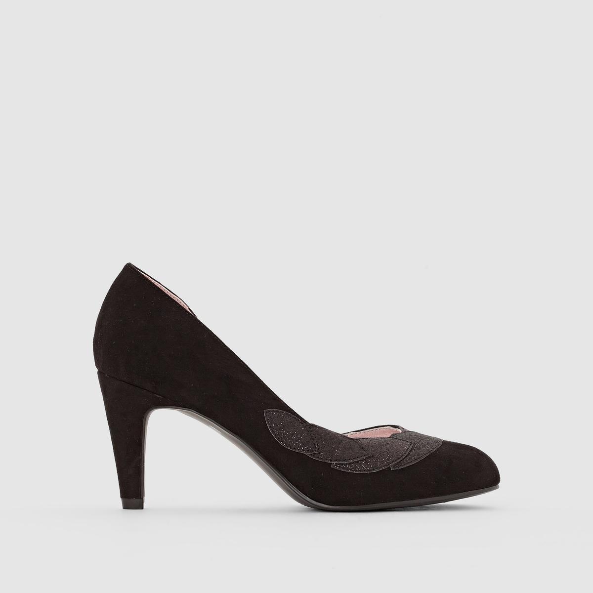 Туфли с рисунком из блестокПреимущества : замечательные туфли с небольшими оригинальными деталями: рисунок сверху и открытая внутренняя сторона.<br><br>Цвет: зеленый,черный<br>Размер: 37.39.40