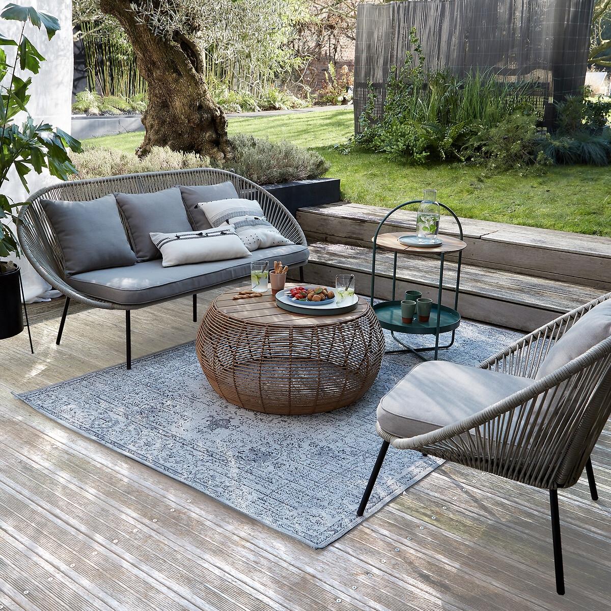 Canapé de jardin 3 places Beige Confort