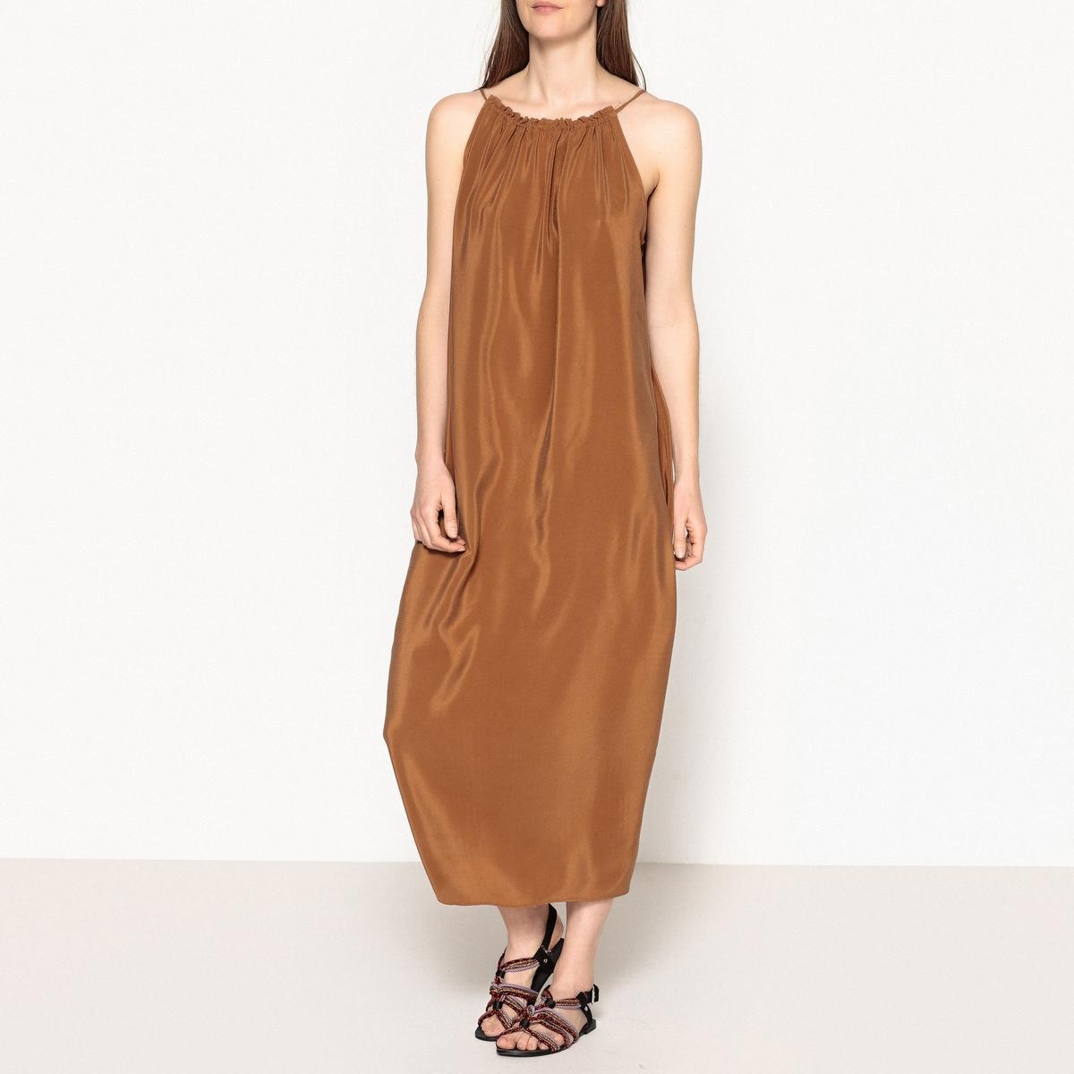 Платье летнее на тонких бретелях из шелка CUTY