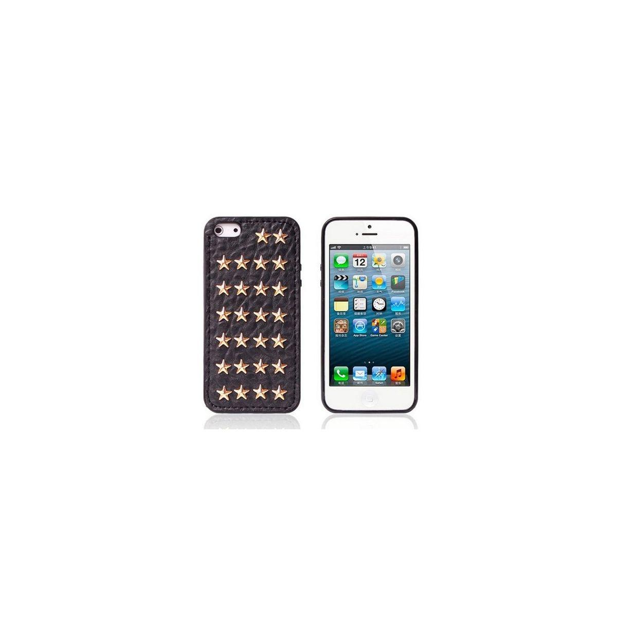 Coque souple effet cuir noir étoiles cloutées or pour iPhone 5 / 5S