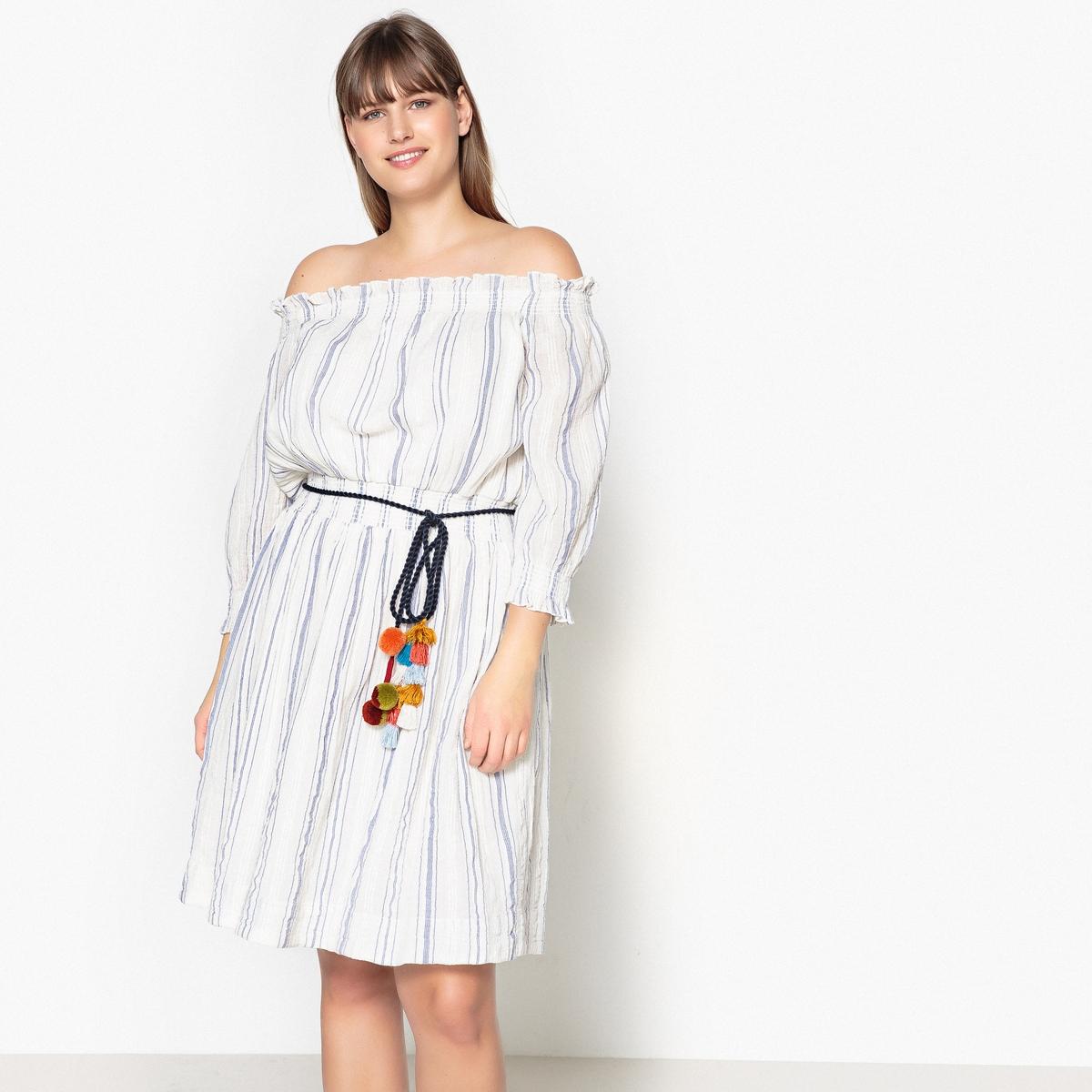 Платье расклешенное с рисунком в полоску