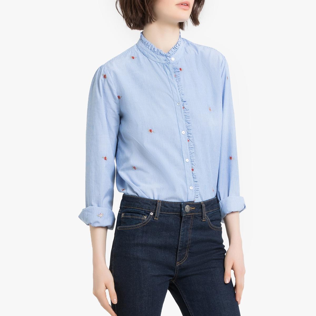 Рубашка La Redoute С вышивкой и воротником-стойка L синий стойка yamaha l 2c
