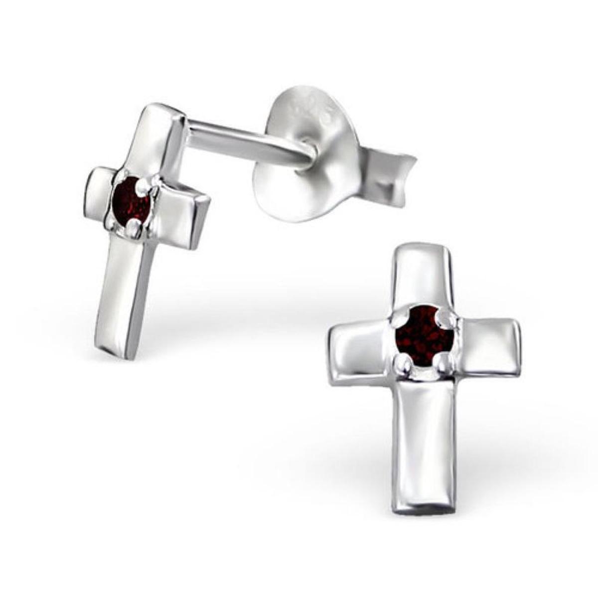Boucles d'oreilles Croix Christ Crucifix Bordeaux Argent 925