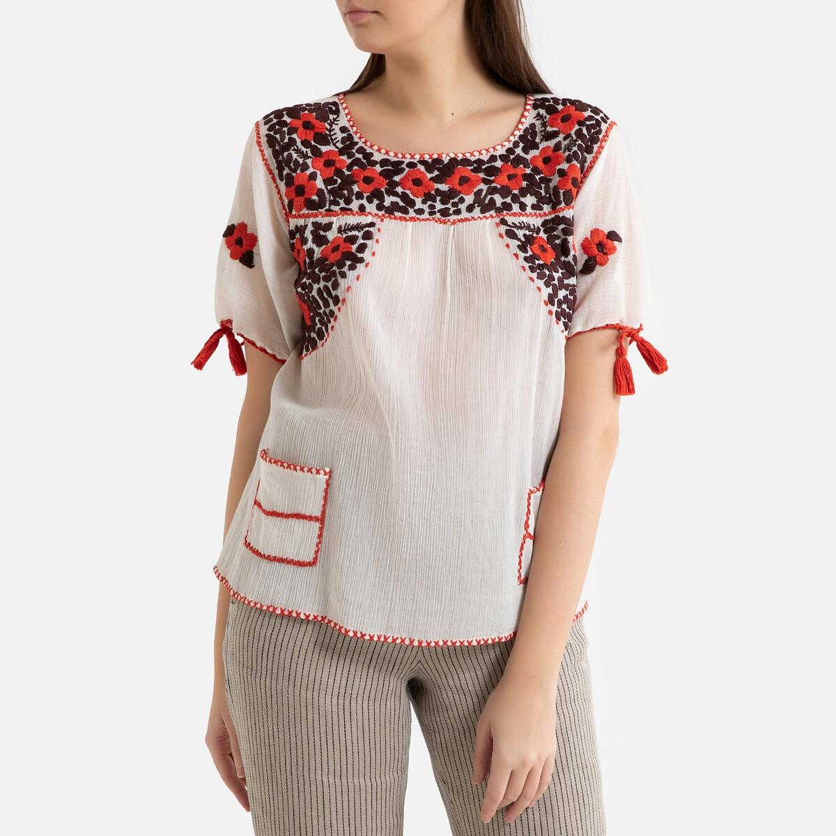 цена на Блузка La Redoute С вышивкой короткие рукава PAOLA 40 (FR) - 46 (RUS) бежевый