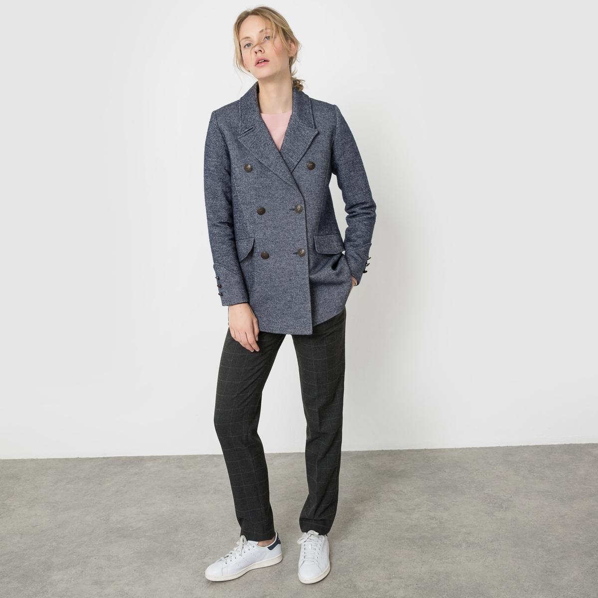 Пальто-бушлат из меланжевого трикотажа