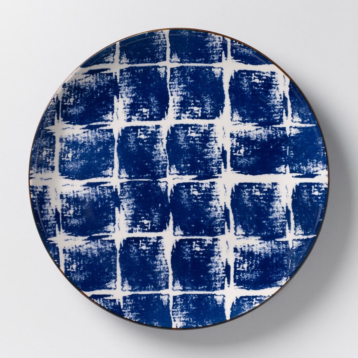 Комплект из 4 мелких тарелок из керамики Malado4 мелкие тарелки Malado . Рисунок икат. Из керамики, покрытой глазурью. Размеры  : диаметр 25,5 см. Подходит для посудомоечной машины и микроволновой печи. Салатник, миска и десертная тарелка того же набора представлены на нашем сайте.<br><br>Цвет: горчичный,индиго<br>Размер: единый размер.единый размер