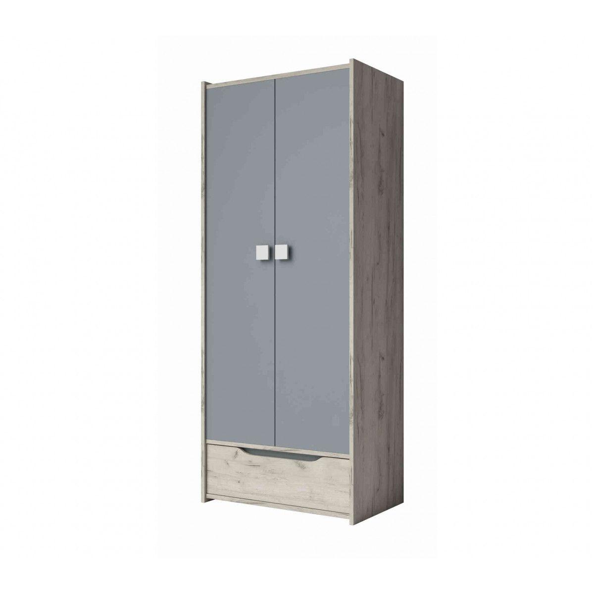 Armoire enfant 2 portes  1 tiroir en bois imitation frêne et gris - AR4025