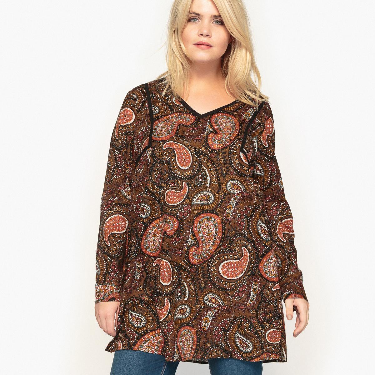 Блузка длинная с принтом, V-образным вырезом и длинными рукавамиВ этой блузке с кашемировым рисунком есть все, чтобы нам понравится . Симпатичный богемный стиль  . Эту длинную блузку можно носить поверх джинсов Детали •  Длинные рукава •  Прямой покрой •  Воротник-поло, рубашечный •  Рисунок в горошекСостав и уход •  100% хлопок •  Температура стирки 30°   •  Сухая чистка и отбеливание запрещены •  Не использовать барабанную сушку •  Низкая температура глажкиТовар из коллекции больших размеров<br><br>Цвет: рисунок пейсли