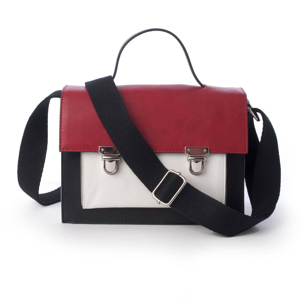 Сумка-портфель двухцветнаяСумка-портфель двухцветная Mademoiselle R.Модная и практичная сумка-портфель идеально подходит для офисной работы. Классическое и в то же время оригинальное сочетание цветов. Состав и описаниеМатериал: верх  из полиуретана.Подкладка из полиэстера.Марка: Mademoiselle R.Размеры: В.17 x Д.22 x Г.10 см.Застежка: металлический замок.2 отделения + 1 карман на молнии + 1 карман для мобильного телефона + 1 карман спереди.Плечевой ремень: регулируемый, не съемный.<br><br>Цвет: красный/ черный/ белый<br>Размер: единый размер