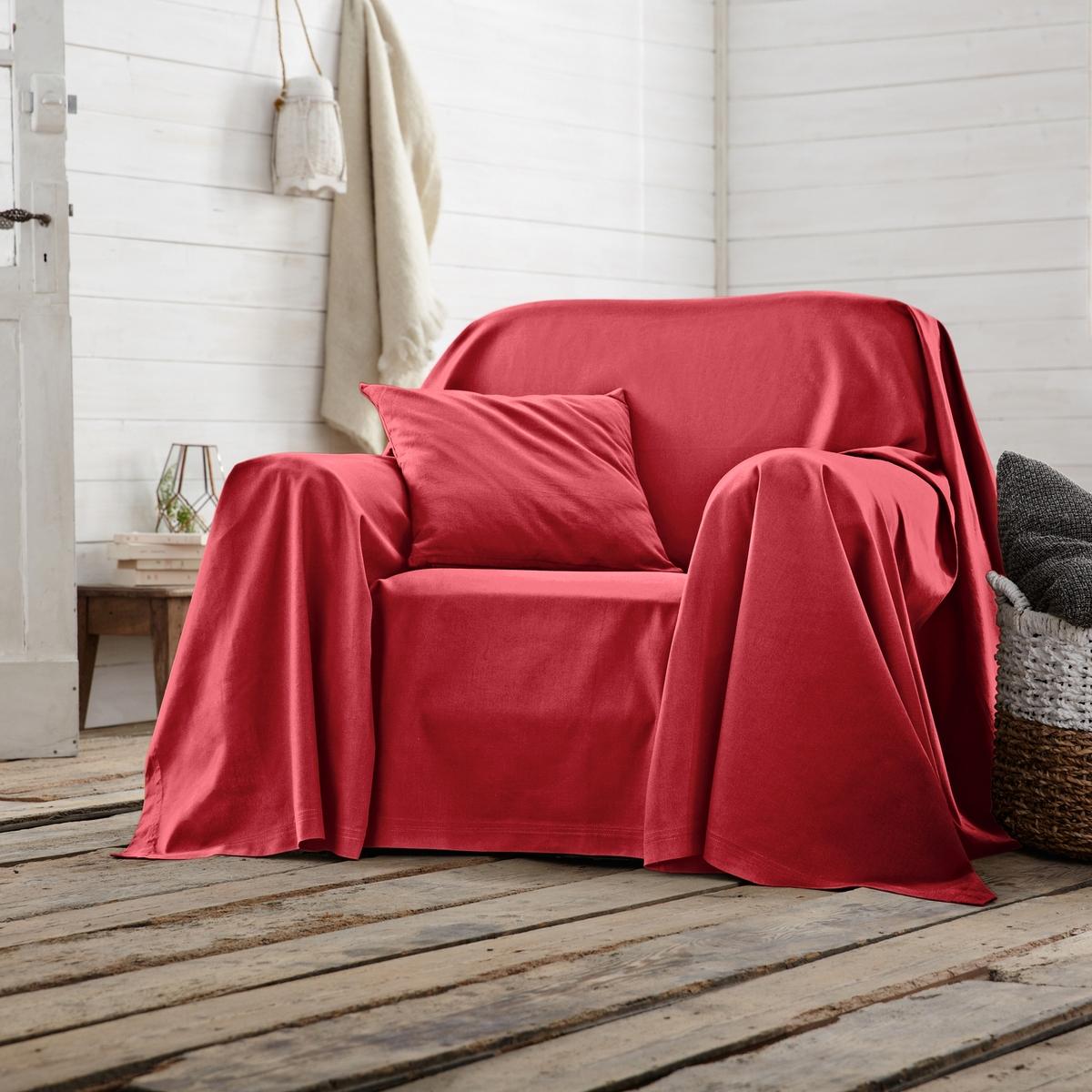 Покрывало однотонное для кресла или диванаПокрывало однотонное для кресла или дивана для декора качества Qualit? Best.Характеристики покрывала для кресла или дивана :- Хлопковая ткань (220 г/м?).- Простой уход: стирка при температуре 40°, превосходная стойкость цвета.Производство осуществляется с учетом стандартов по защите окружающей среды и здоровья человека, что подтверждено сертификатом Oeko-tex®.<br><br>Цвет: рубиново-красный,сине-зеленый<br>Размер: 250 x 250  см.250 x 250  см