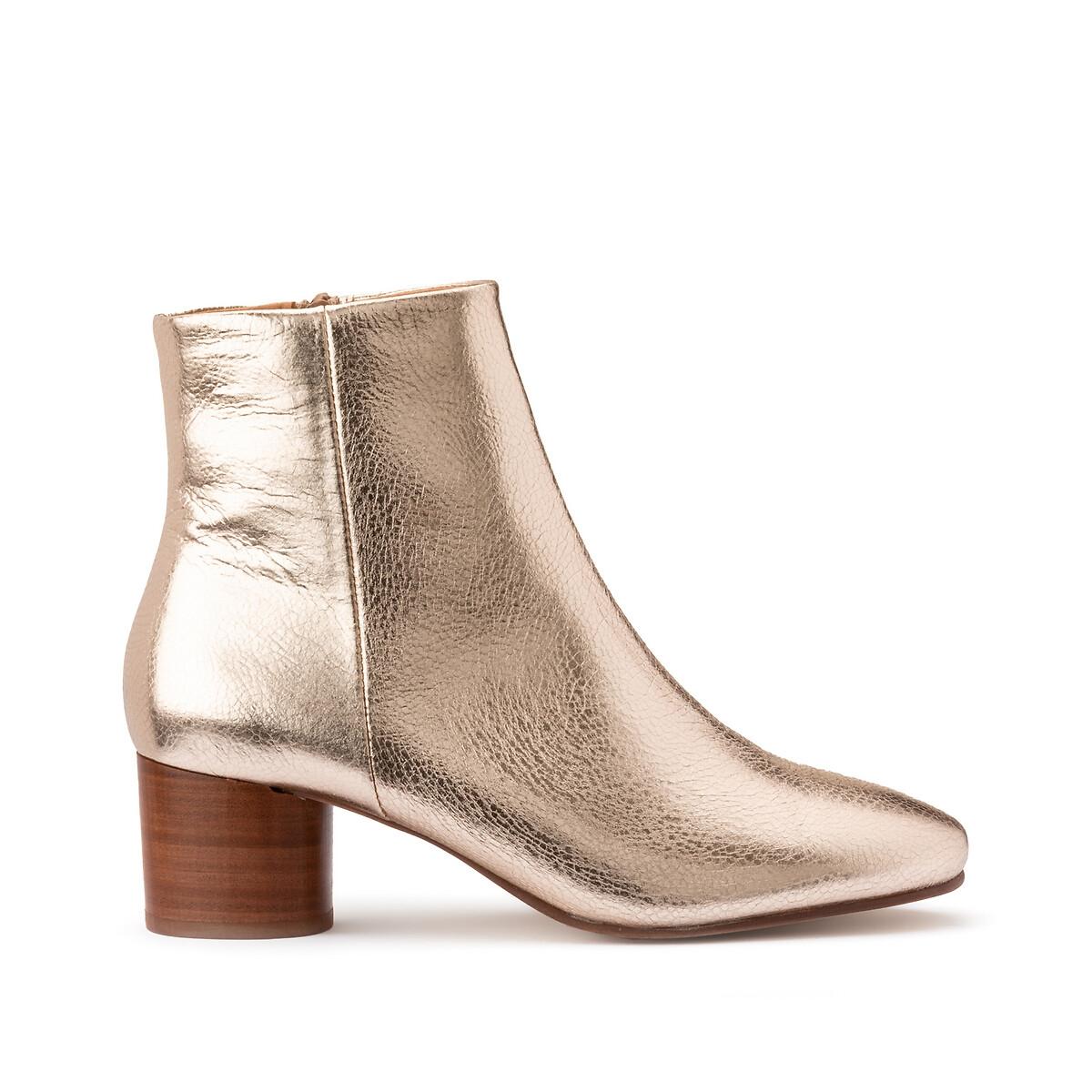 Ботинки LaRedoute Из кожи на широком каблуке 41 золотистый ботинки laredoute из кожи на широком каблуке с питоновым принтом 39 бежевый