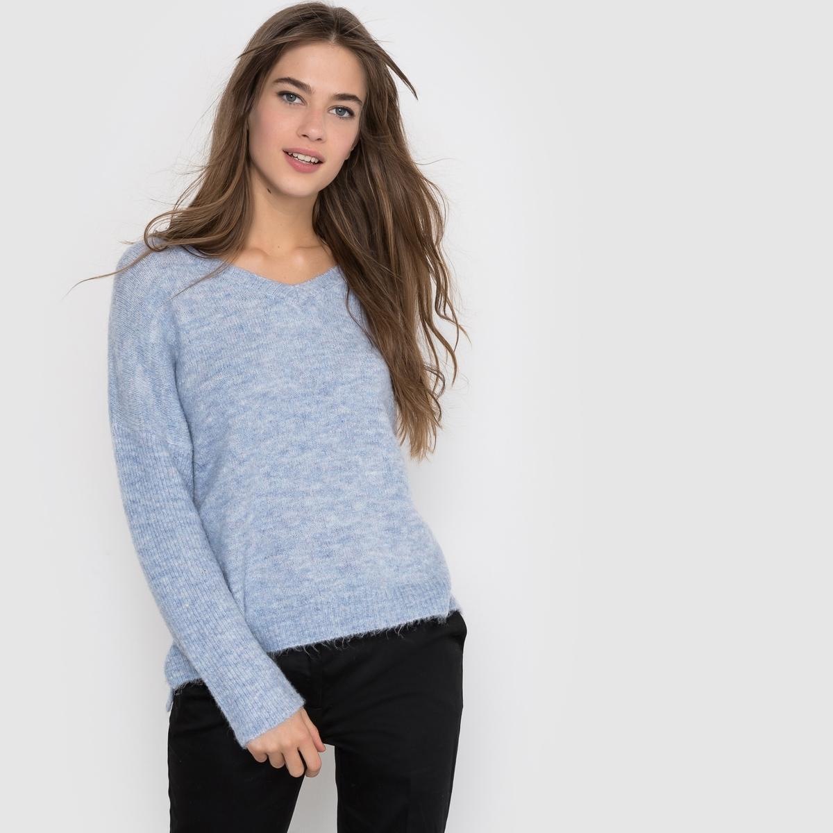Пуловер из меланжевого трикотажа с V-образным вырезом