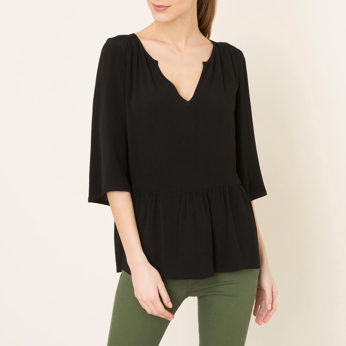 Блузка YOOLБлузка объемная BA&amp;SH - модель YOOL из струящейся однотонной ткани . Тунисский воротник. Рукава ?, расширяющиеся книзу. Сборки на отрезной талии  . Состав и описание    Материал : 100% вискоза   Марка : BA&amp;SH<br><br>Цвет: черный