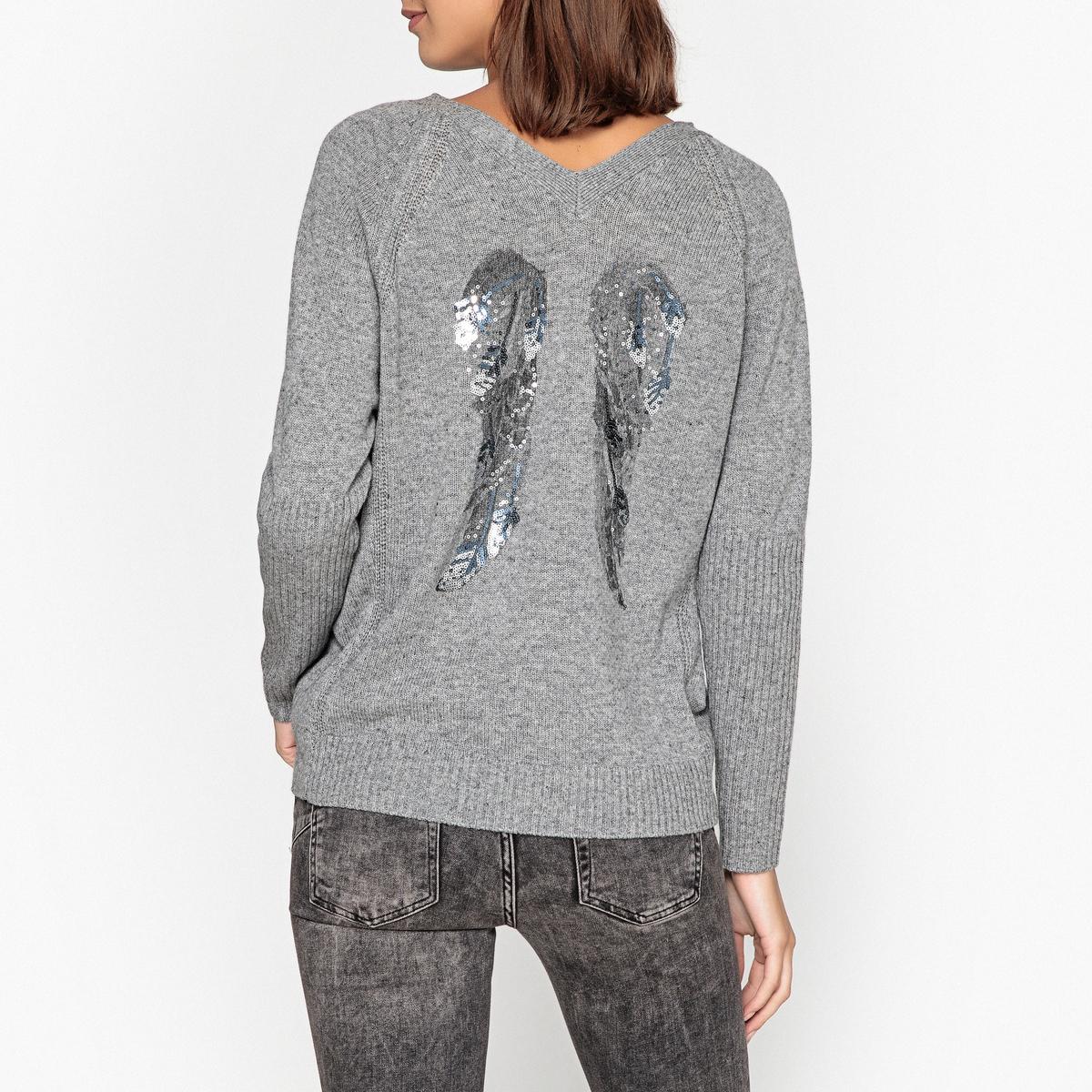купить Пуловер с V-образным вырезом из тонкого трикотажа EBENE по цене 16299 рублей