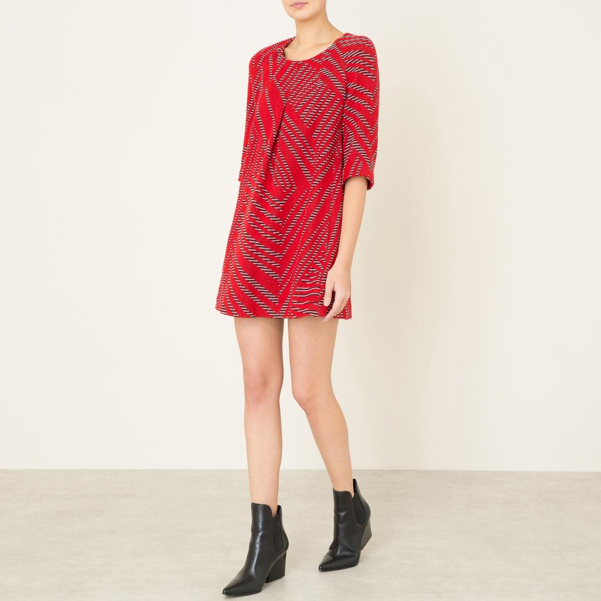 Платье короткое TALWEGСостав и описание    Материал : 55% необработанной шерсти, 18% полиамида, 16% хлопка, 7% вискозы, 4% других волокон   Длина до середины спины : 79 см   Марка : BA&amp;SH<br><br>Цвет: красный