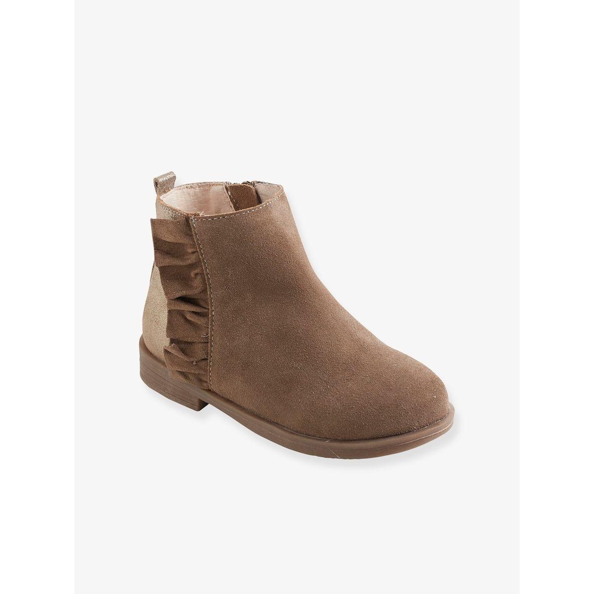 Boots volantés fille en cuir