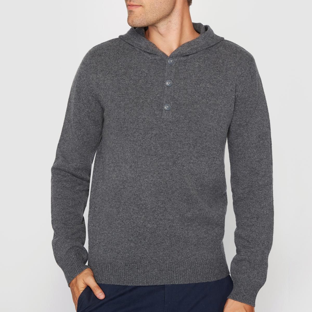 Пуловер с капюшоном из шерсти ягненка