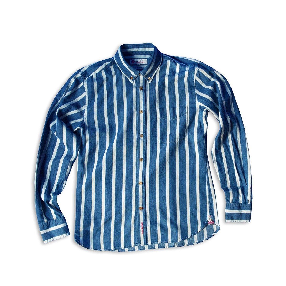 Chemise denim rayures blanches col à pointes boutonnées
