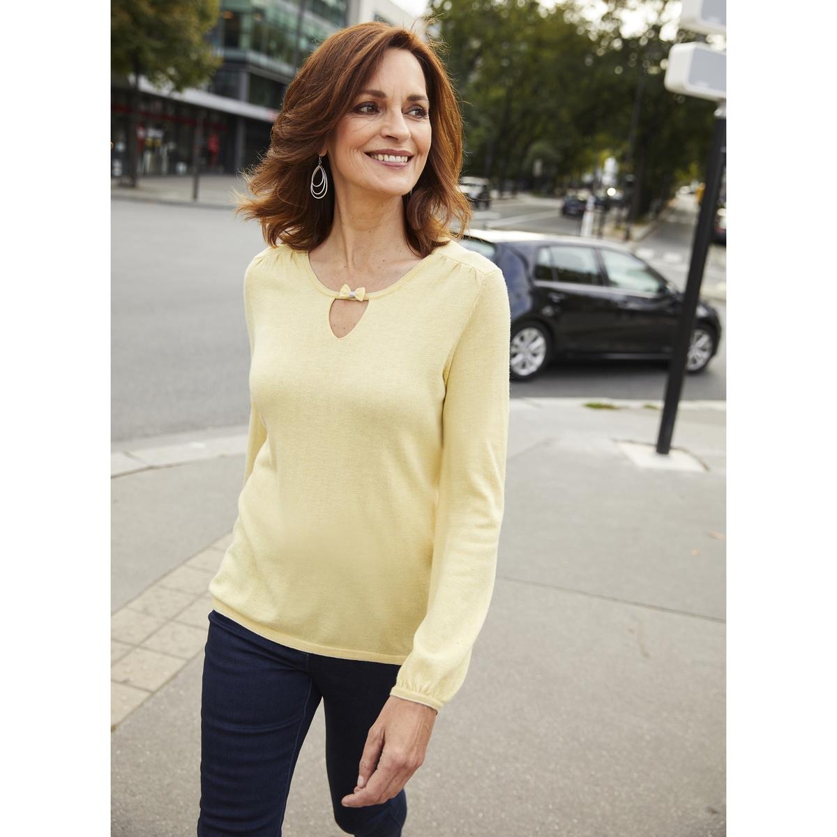 Imagen principal de producto de Jersey con cuello redondo y punto fino, 10% lana - Anne weyburn