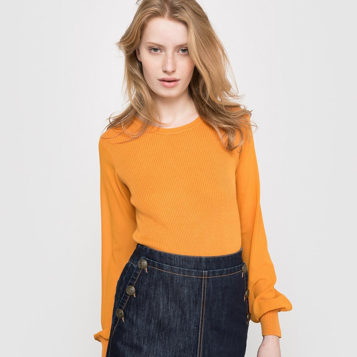 Пуловер из трикотажа в рубчик и вуали