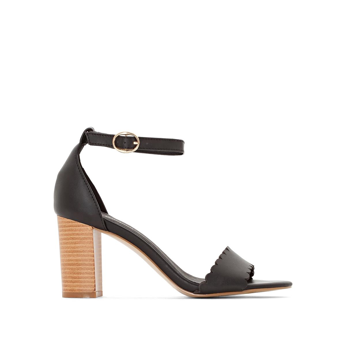 Босоножки из кожи на каблукеБосоножки Anne Weyburn, изящные и утонченные, подходят для повседневного ношения.Верх : кожа.Подкладка : синтетика.Стелька : Кожа на подкладке из пеноматериала.Подошва : эластомер.Высота каблука : 8 см.<br><br>Цвет: темно-синий,черный<br>Размер: 41.38.37