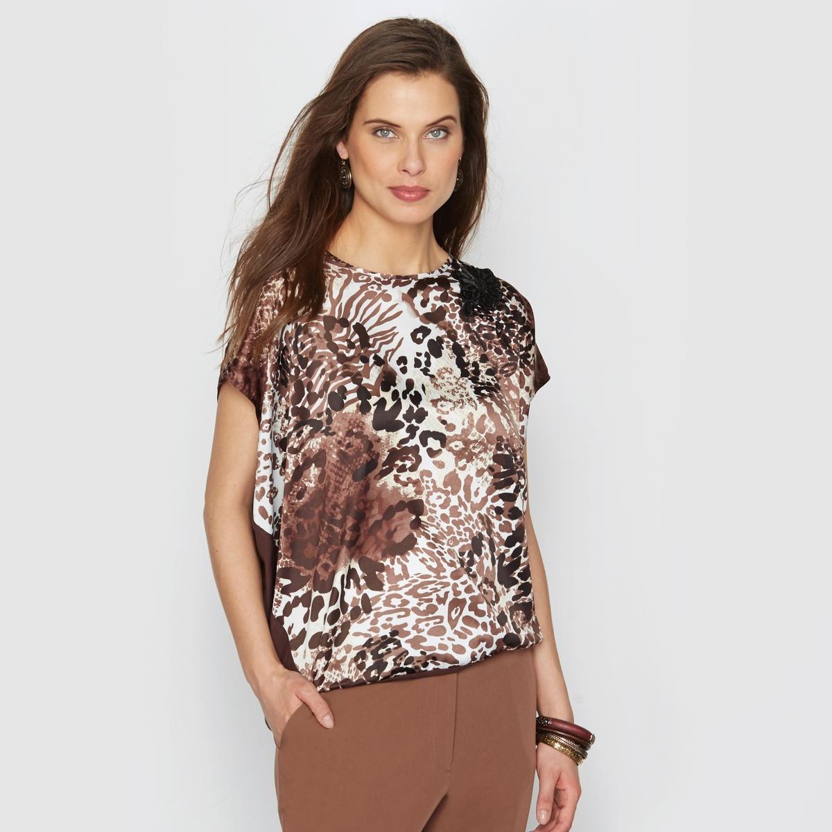 Блузка с рисунком, сатин стрейч