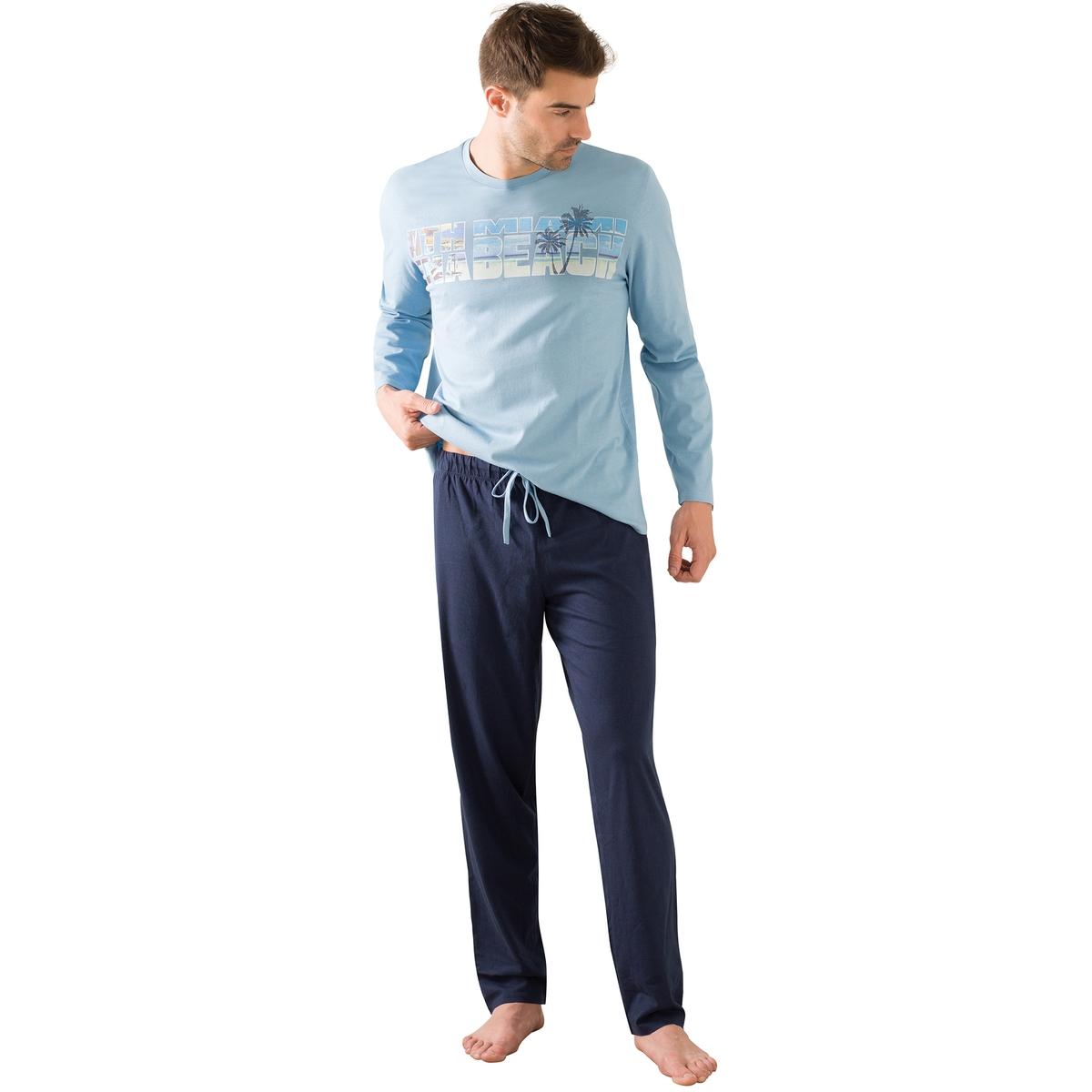 Пижама длинная, нагрудный рисунокОписание:Длинная и комфортная пижама для мужчин с нагрудным рисунком в стиле Miami Beach : длинная пижама от Athena для мужчин!Состав и описание :Пижама длинная. Футболка с рисунком и длинными рукавами. Круглый вырезБрюки с эластичным поясом и на завязках.Материал : 100% хлопок. Джерси. Марка: ATHENA.Уход :Стирать при 40° с вещами схожих цветов.Стирка и глажка с изнаночной стороны.Машинная сушка запрещена.<br><br>Цвет: синий/темно-синий<br>Размер: M.XL