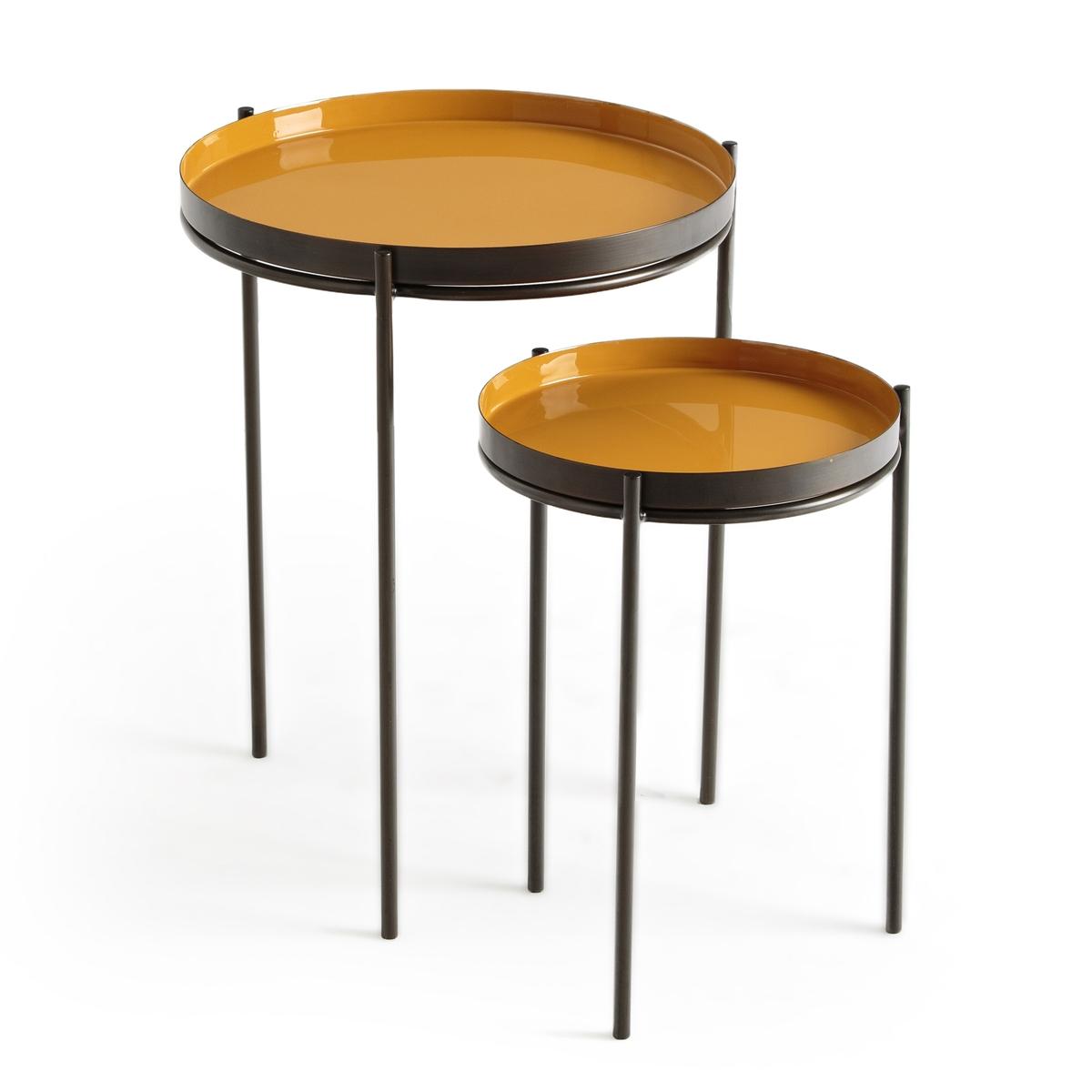2 журнальных LaRedoute Столика из металла Picabea единый размер бежевый журнальные столики