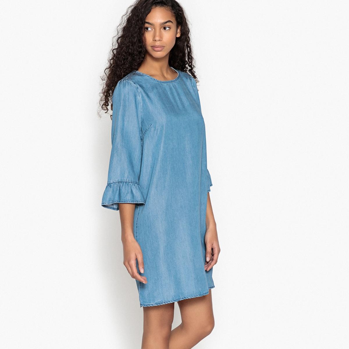 Платье прямое однотонное средней длины, с рукавами 3/4Описание:Детали •  Форма : прямая •  Длина до колен •  Рукава 3/4    •  Круглый вырезСостав и уход •  100% лиоцелл  •  Следуйте рекомендациям по уходу, указанным на этикетке изделия<br><br>Цвет: синий деним