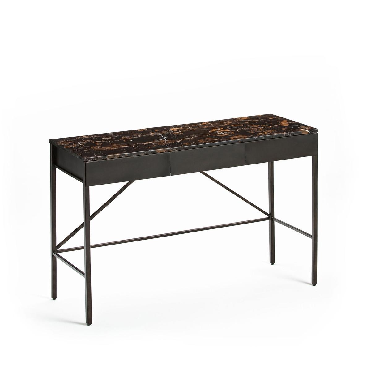 Письменный стол-консоль со столешницей из мрамора янтарного цвета, Fébée стол консоль из янтарного мрамора и металла д 125 см ambrette