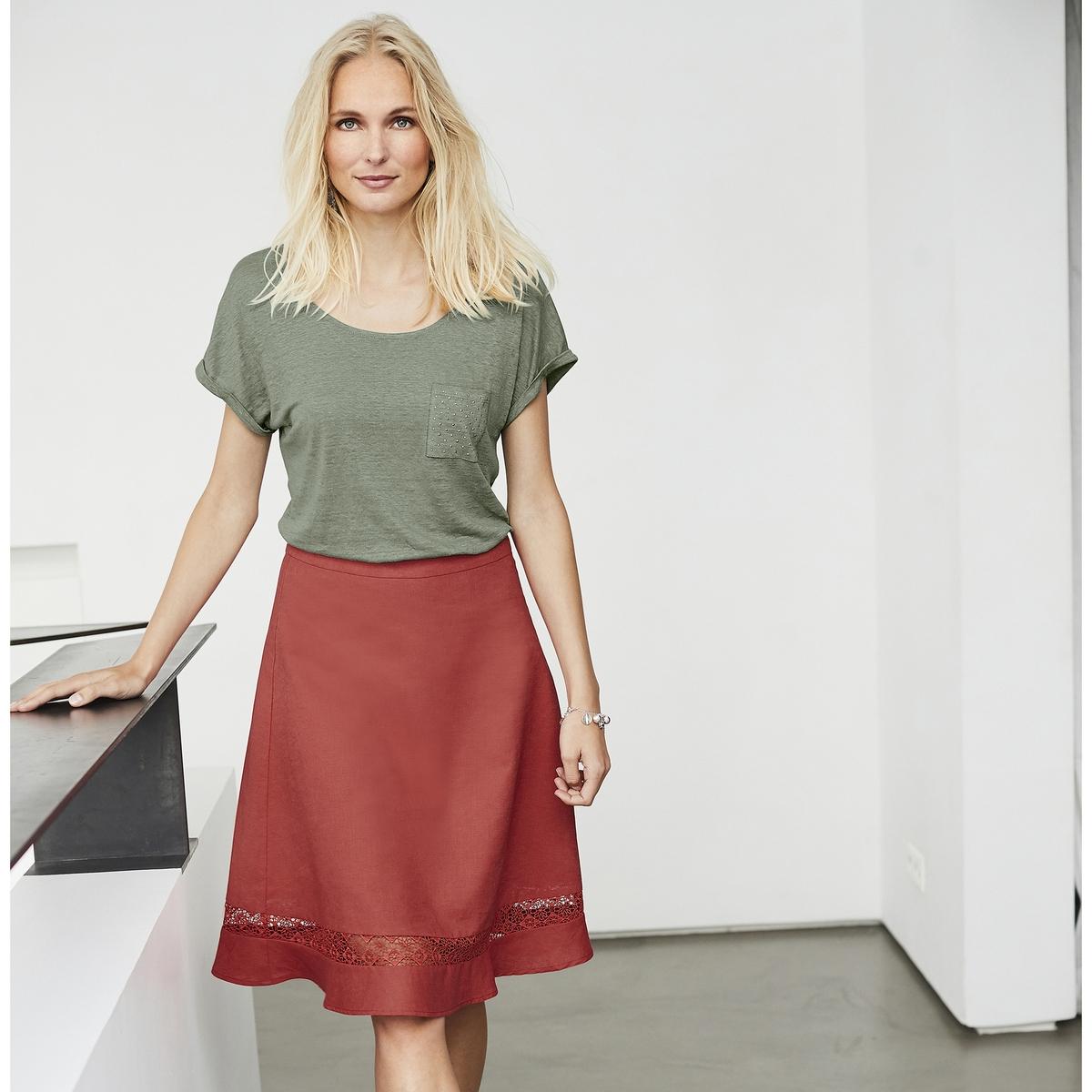 Imagen secundaria de producto de Camiseta con cuello redondo, 100% lino - Anne weyburn