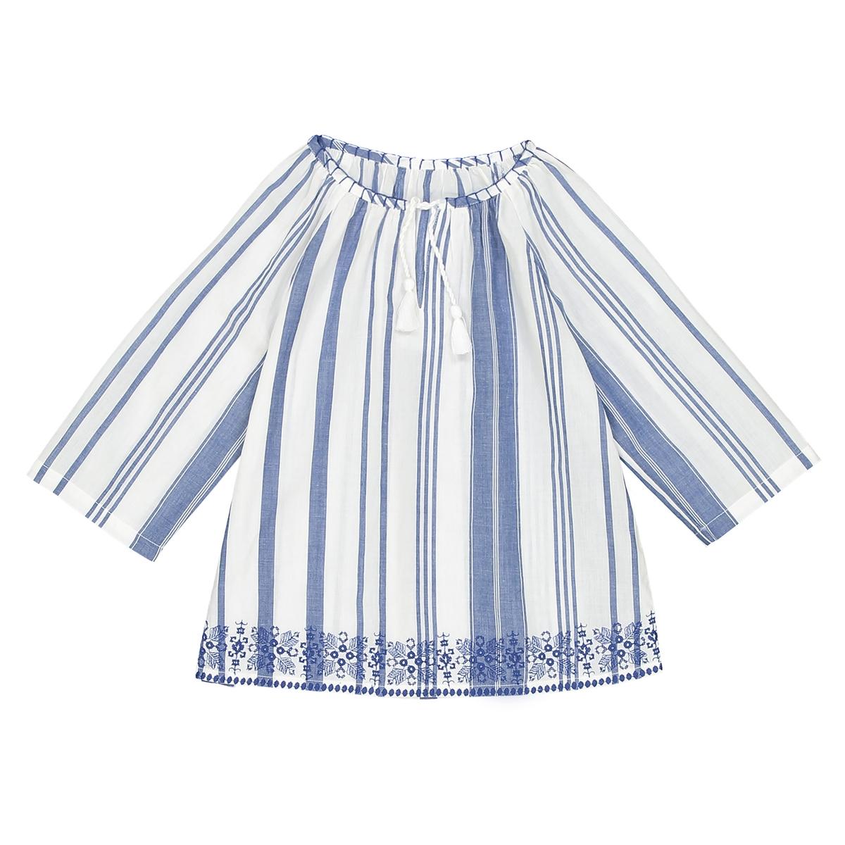 Blusa de mangas compridas às riscas, 3-12 anos