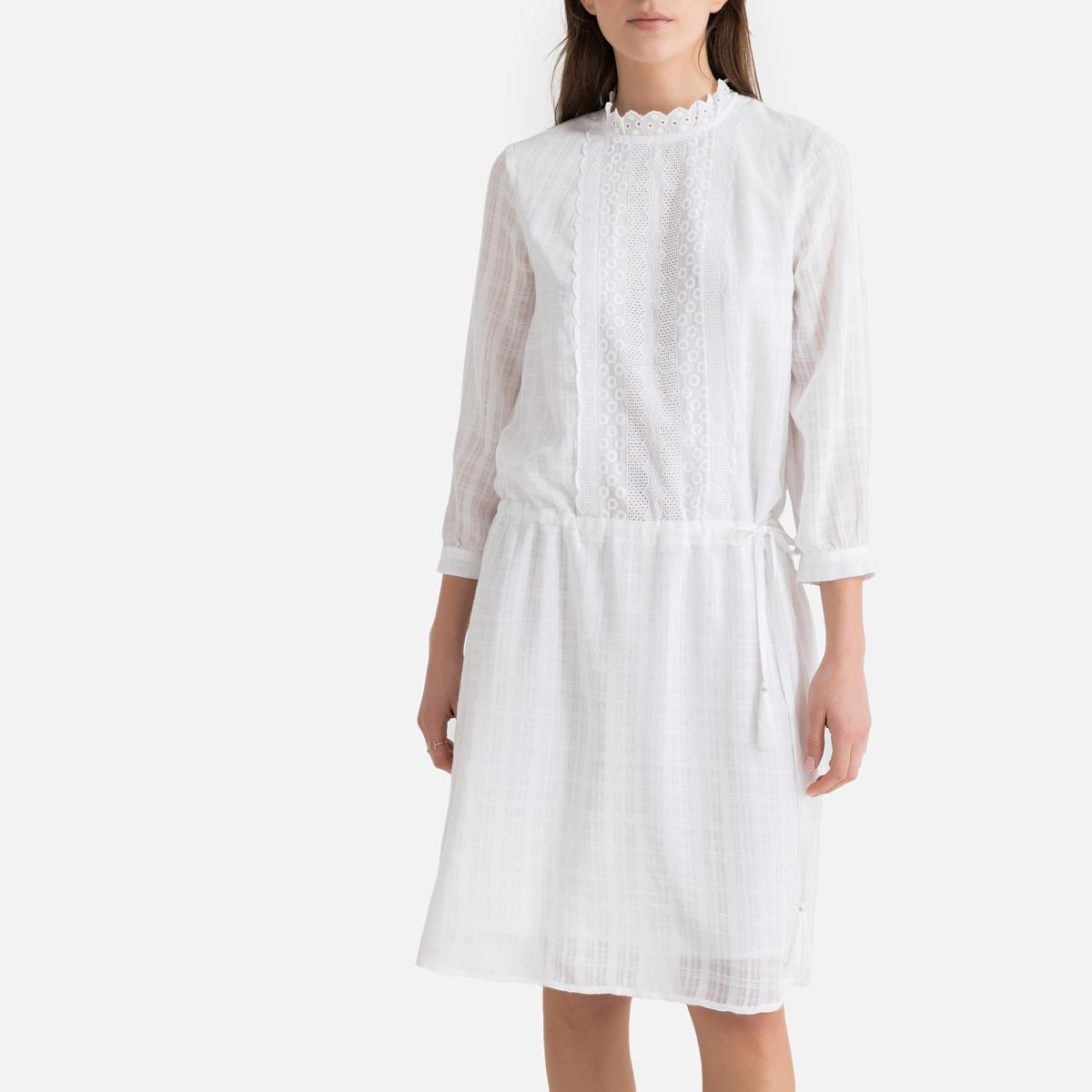 Платье La Redoute С воротником-стойкой и рукавами 46 (FR) - 52 (RUS) белый свитшот la redoute с воротником стойкой и рисунком спереди 46 48 fr 52 54 rus черный