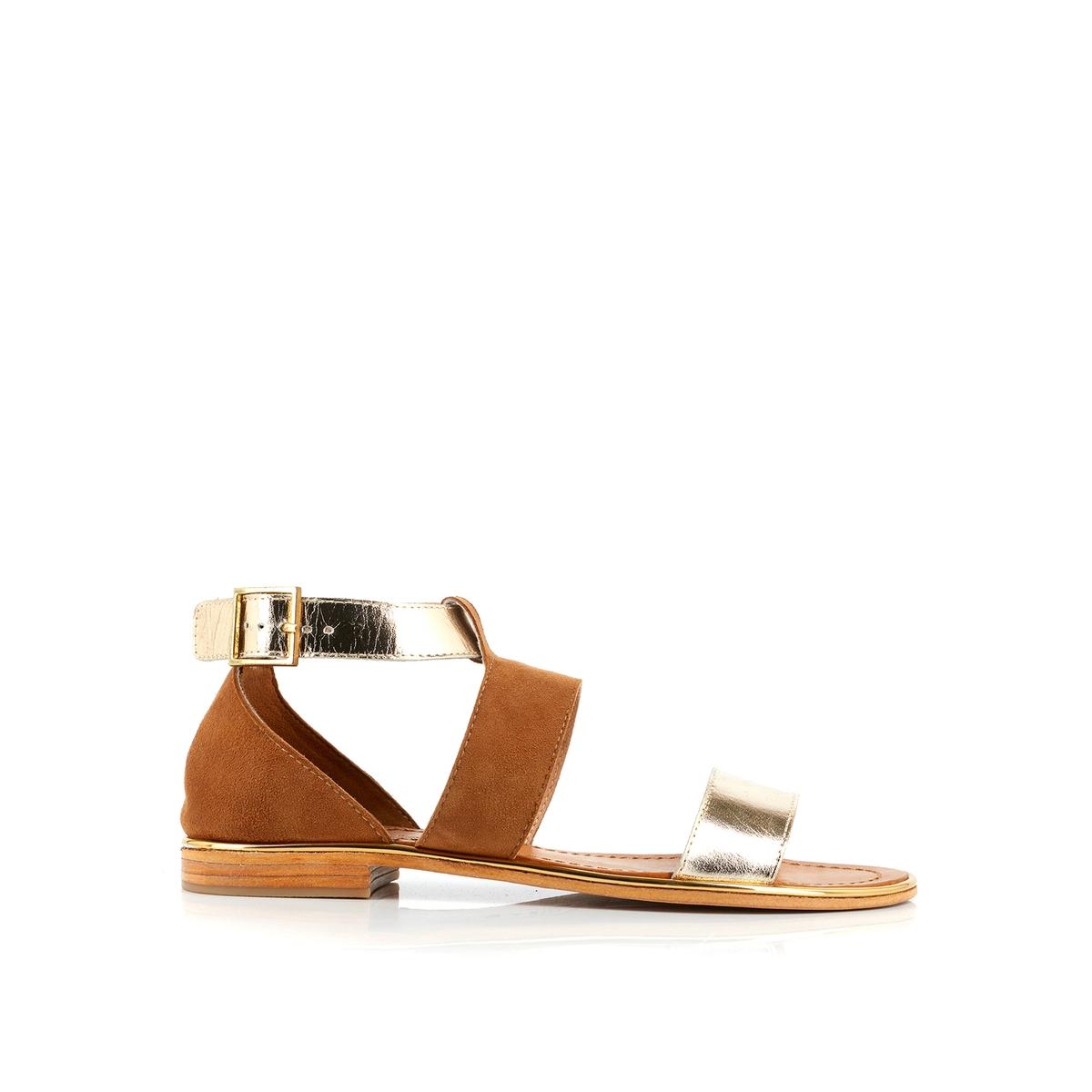 Сандалии кожаные на плоском каблуке Dina roberto verino mellow