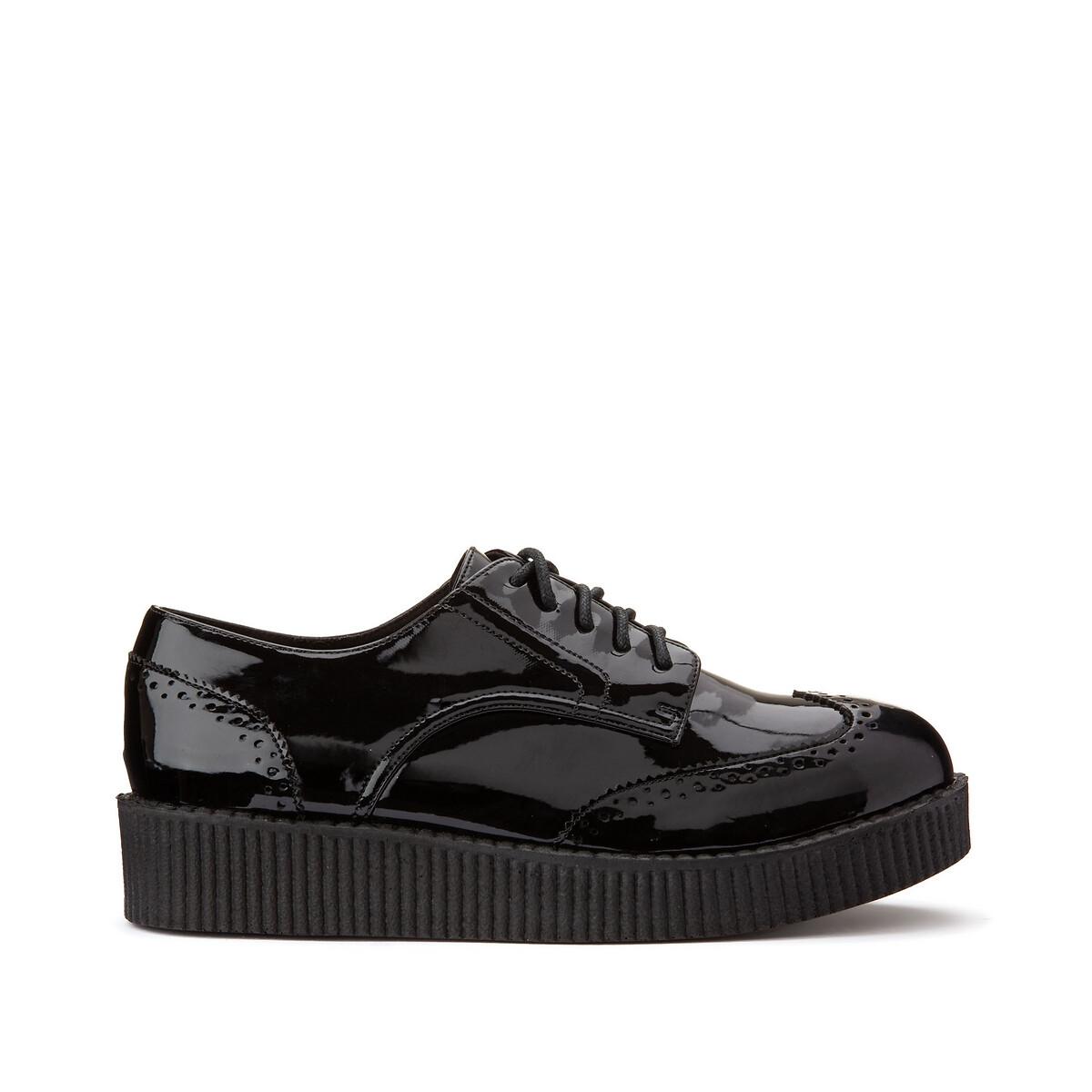 Ботинки-дерби LaRedoute Лакированные для широкой стопы 38-45 41 черный