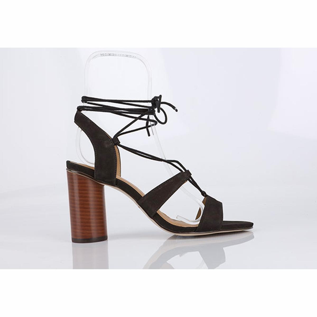 Босоножки кожаные BruneВерх/Голенище : кожа.    Подкладка : кожа.    Стелька : кожа.    Подошва : синтетика    Высота каблука : 9,5 см    Форма каблука : тонкий каблук    Мысок : закругленный    Застежка : завязки.<br><br>Цвет: черный<br>Размер: 39.36.37