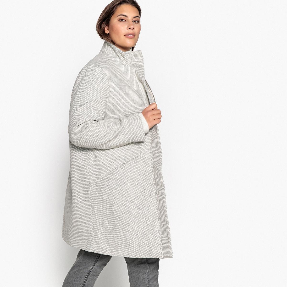 все цены на Пальто La Redoute В полоску средней длины с застежкой на молнию 54 (FR) - 60 (RUS) серый онлайн