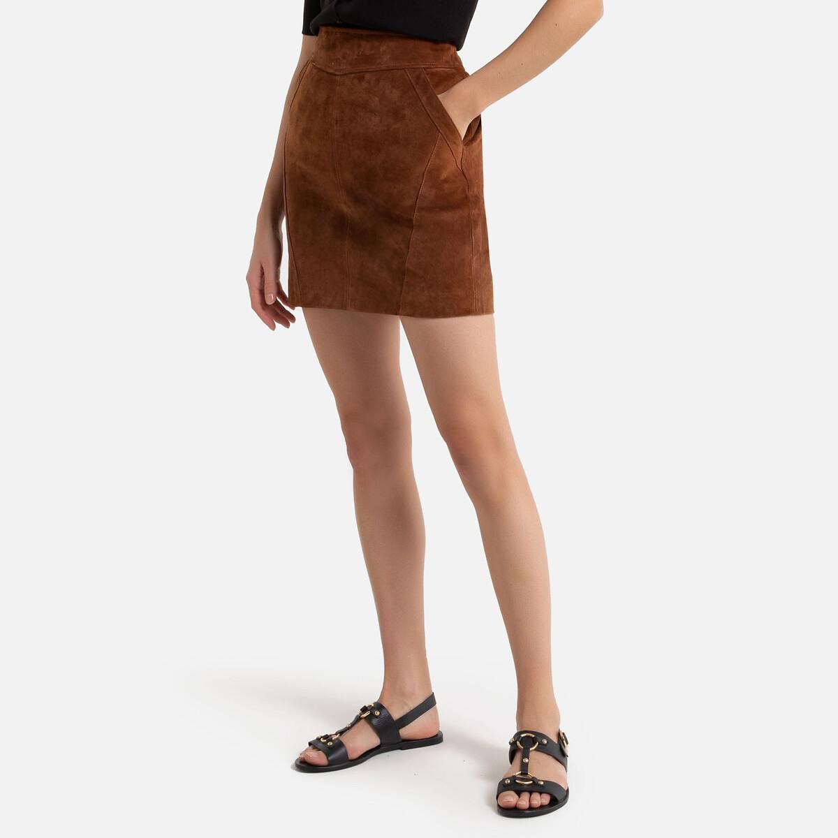 Юбка La Redoute Короткая прямая из спилка кожи 38 (FR) - 44 (RUS) каштановый юбка la redoute короткая прямая из ткани с пропиткой 40 fr 46 rus черный