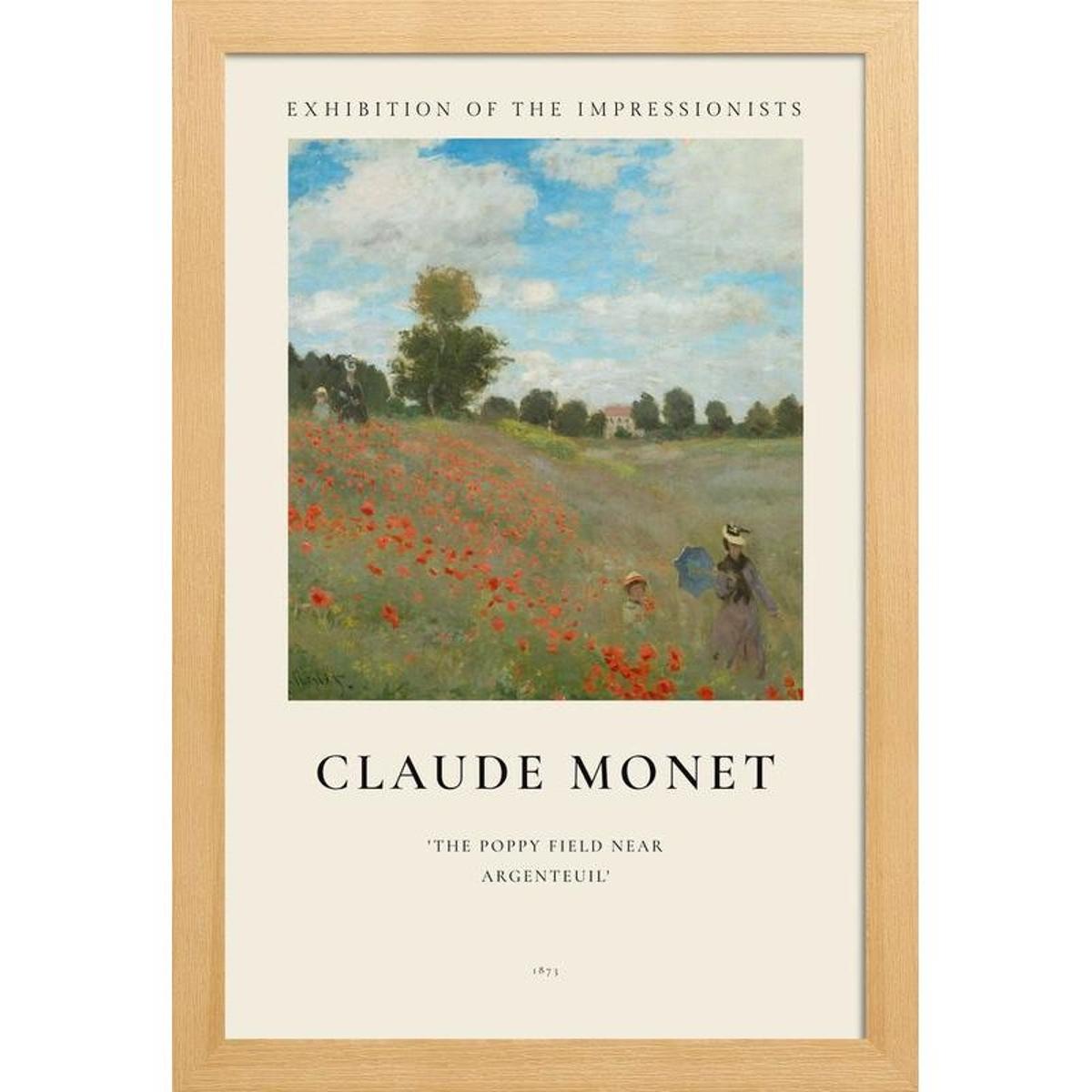 Poster - Monet - The Poppy Field near Argenteuil - Claude Monet en Blanc ivoire & Vert
