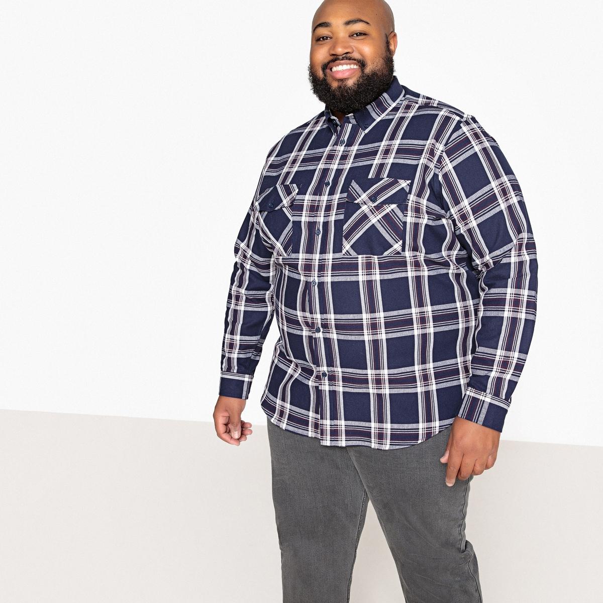 Рубашка La Redoute Прямая большого размера в клетку 49/50 синий