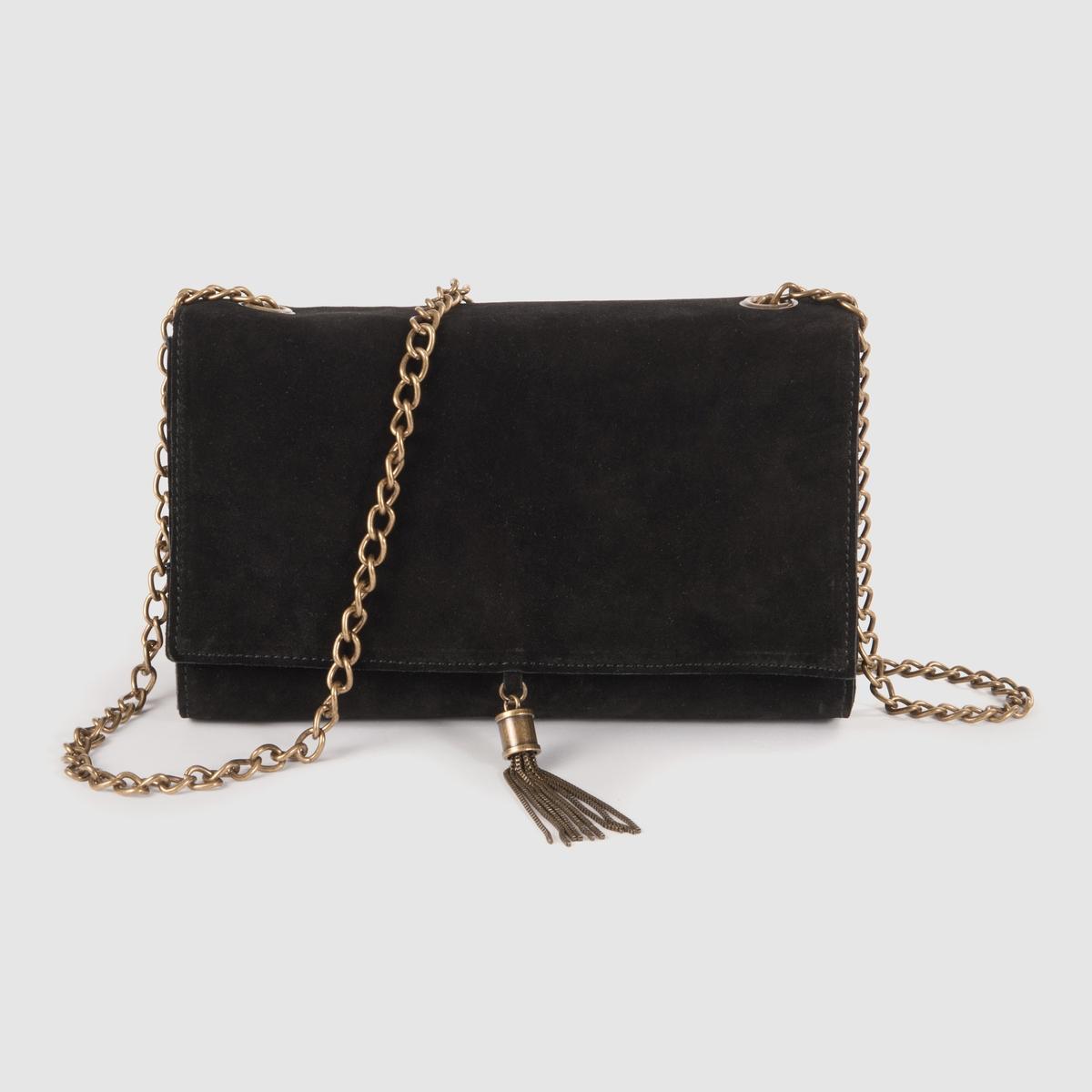 СумкаВнутренние карманы : 2 кармана, изних 1 карман для сотового телефона + 1 карман на молнии.Плечевой ремень : металлическая цепь с люверсами.Детали : оригинальный металлический помпон спереди.Преимущества : всем понравится ее модный дизайн и небольшой формат.<br><br>Цвет: каштановый,черный<br>Размер: единый размер