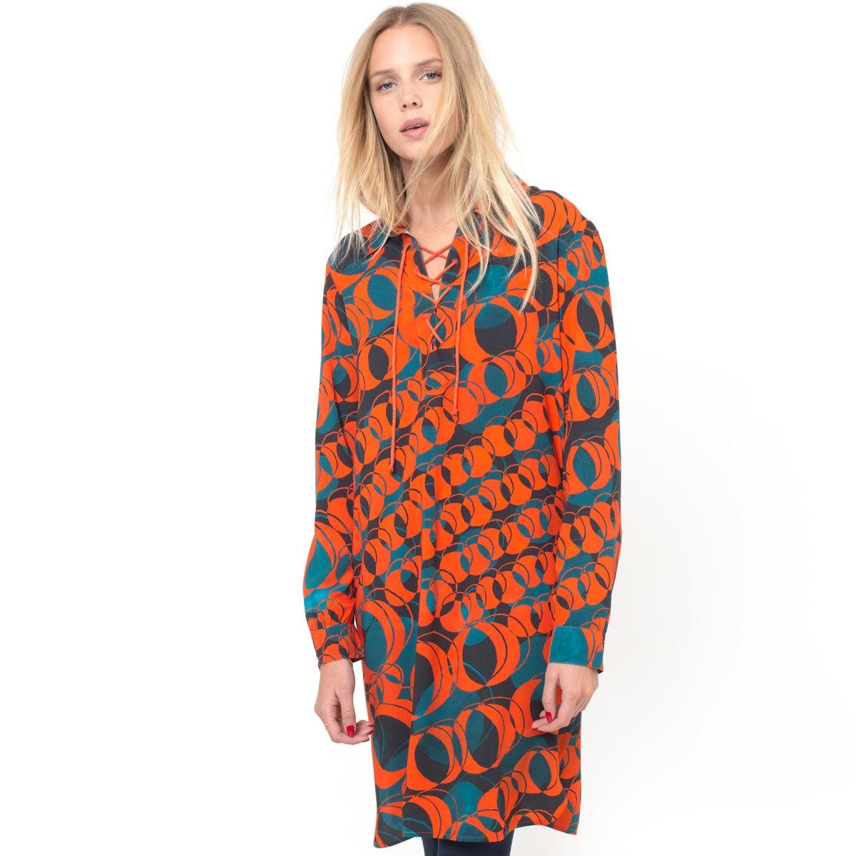 ПлатьеПлатье BENSIMON. 100% вискозы. Струящееся платье с рисунком. Длинные рукава. V-образный вырез на шнуровке.<br><br>Цвет: оранжевый<br>Размер: M