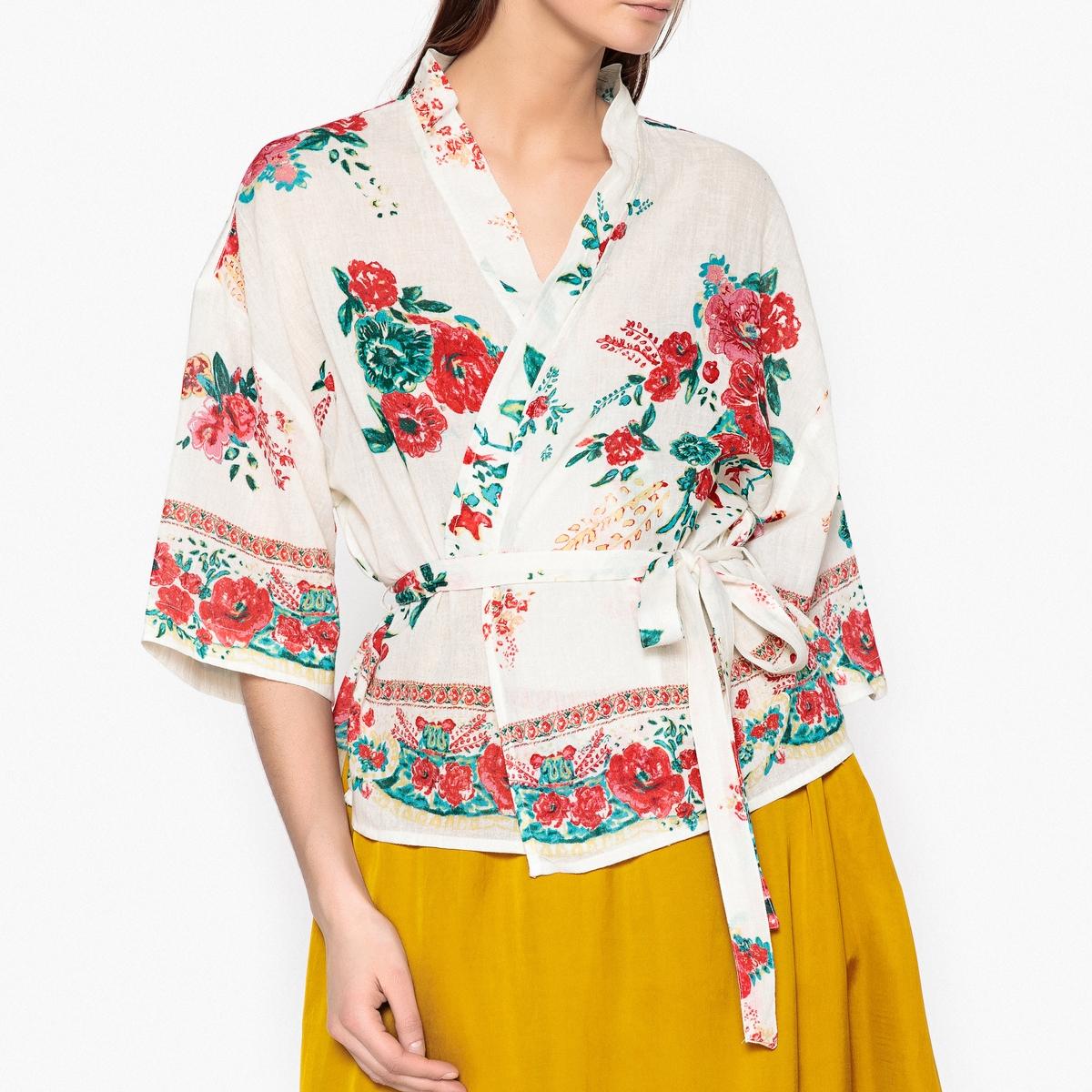 Блузка-кимоно с цветочным рисунком CRAZY UKRANIAОписание:Блузка-кимоно с широкими рукавами LEON AND HARPER - модель UKRANIA. Из очень тонкого 100% хлопка с цветочным рисунком, вырез с планками с частичным кантом, блузку можно носить как жакет. Пояс с завязками, небольшой разрез по бокам.Детали •  Кимоно •  Приталенный покрой •  Длина : укороченная модель •  Без воротника •  Цветочный рисунокСостав и уход •  100% хлопок •  Следуйте рекомендациям по уходу, указанным на этикетке изделия •  Длина : ок. 61 см. для размера S<br><br>Цвет: экрю